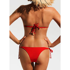 Solid Color Triangle String Strap Beautiful Bikinis Swimsuits