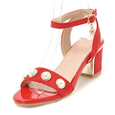 Women's Suede Chunky Heel Sandals Pumps Peep Toe With Imitation Pearl Buckle shoes